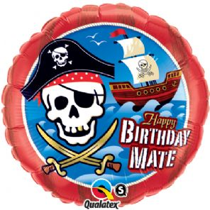 Happy Birthday Mate Pirate Foil Helium Balloon